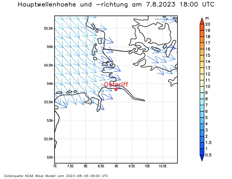 Vorhersage Wellenhöhe und -richtung Oste und Elbe