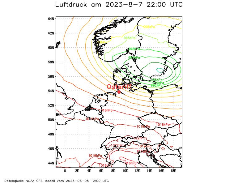 Vorhersage Luftdruckverhältnisse Oste und Elbe